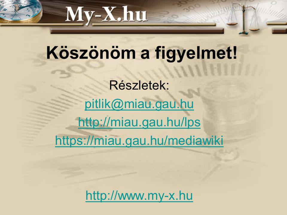 INNOCSEKK 156/2006 Köszönöm a figyelmet! Részletek: pitlik@miau.gau.hu http://miau.gau.hu/lps https://miau.gau.hu/mediawiki http://www.my-x.hu