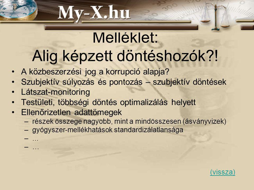 INNOCSEKK 156/2006 Melléklet: Alig képzett döntéshozók?! •A közbeszerzési jog a korrupció alapja? •Szubjektív súlyozás és pontozás – szubjektív döntés