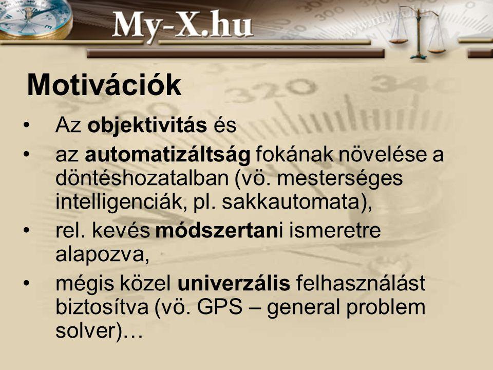 INNOCSEKK 156/2006 Motivációk •Az objektivitás és •az automatizáltság fokának növelése a döntéshozatalban (vö. mesterséges intelligenciák, pl. sakkaut