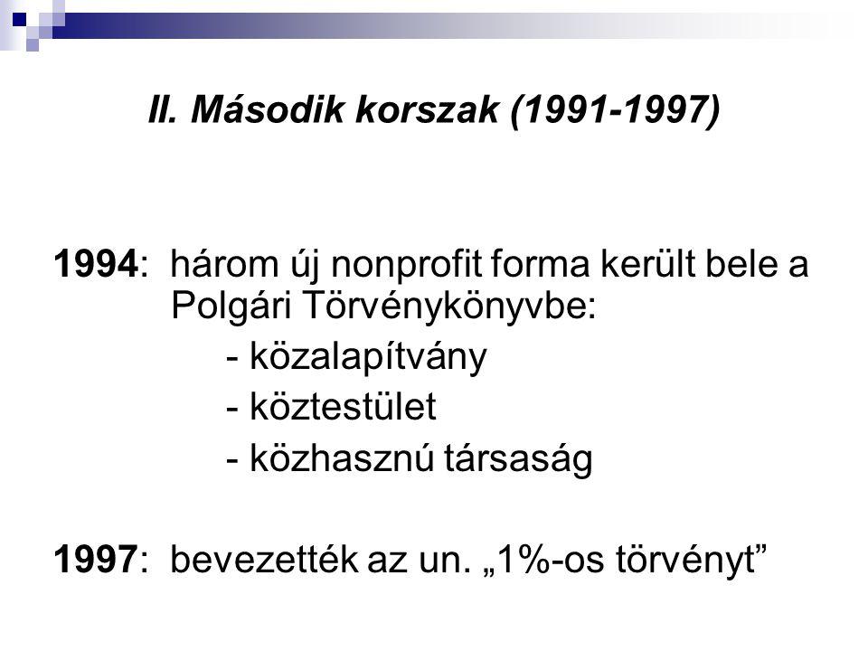 II. Második korszak (1991-1997) 1994: három új nonprofit forma került bele a Polgári Törvénykönyvbe: - közalapítvány - köztestület - közhasznú társasá