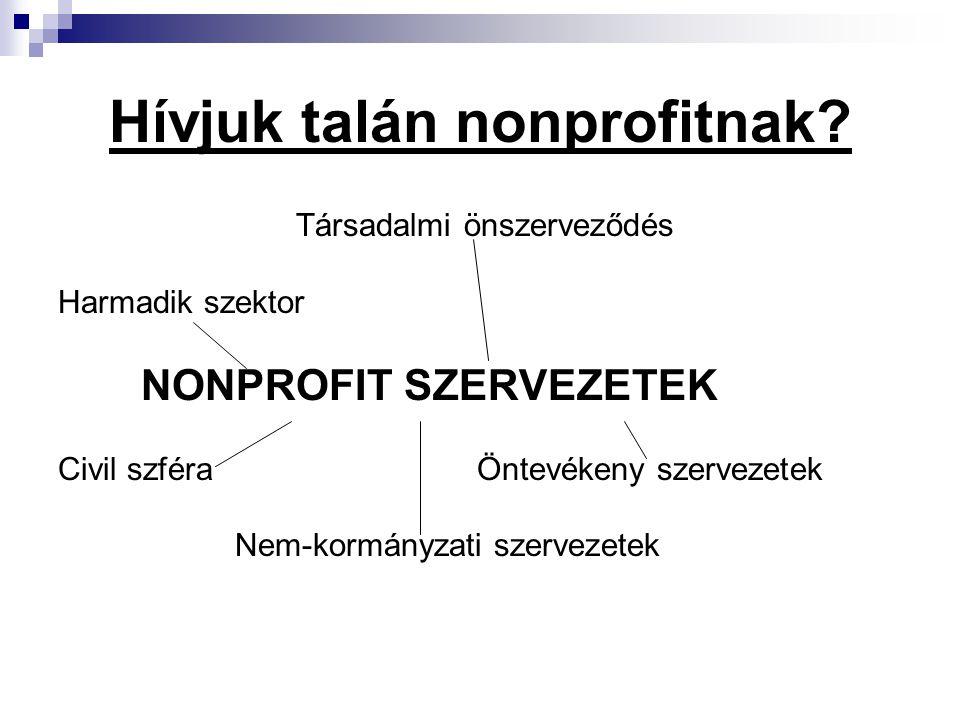 Hívjuk talán nonprofitnak? Társadalmi önszerveződés Harmadik szektor NONPROFIT SZERVEZETEK Civil szféra Öntevékeny szervezetek Nem-kormányzati szervez