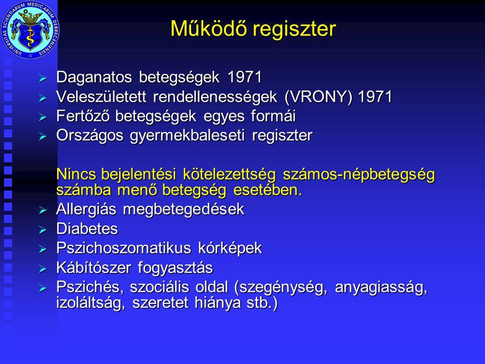 Működő regiszter  Daganatos betegségek 1971  Veleszületett rendellenességek (VRONY) 1971  Fertőző betegségek egyes formái  Országos gyermekbaleseti regiszter Nincs bejelentési kötelezettség számos-népbetegség számba menő betegség esetében.