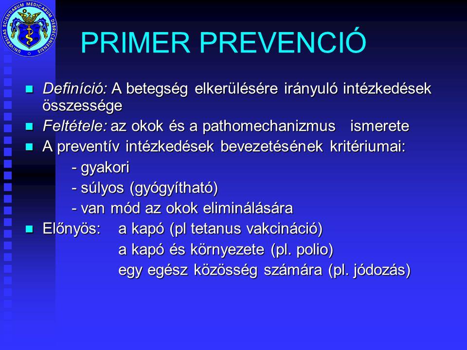 PRIMER PREVENCIÓ n Definíció: A betegség elkerülésére irányuló intézkedések összessége n Feltétele: az okok és a pathomechanizmus ismerete n A preventív intézkedések bevezetésének kritériumai: - gyakori - súlyos (gyógyítható) - van mód az okok eliminálására n Előnyös: a kapó (pl tetanus vakcináció) a kapó és környezete (pl.