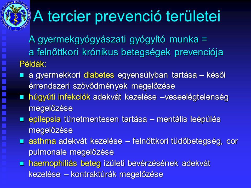 A tercier prevenció területei A gyermekgyógyászati gyógyító munka = a felnőttkori krónikus betegségek prevenciója Példák: n a gyermekkori diabetes egyensúlyban tartása – késői érrendszeri szövődmények megelőzése n húgyúti infekciók adekvát kezelése –veseelégtelenség megelőzése n epilepsia tünetmentesen tartása – mentális leépülés megelőzése n asthma adekvát kezelése – felnőttkori tüdőbetegség, cor pulmonale megelőzése n haemophiliás beteg izületi bevérzésének adekvát kezelése – kontraktúrák megelőzése kezelése – kontraktúrák megelőzése