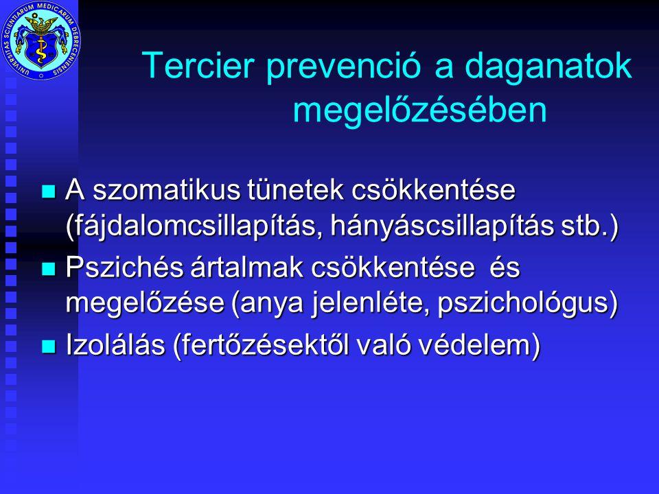 Tercier prevenció a daganatok megelőzésében n A szomatikus tünetek csökkentése (fájdalomcsillapítás, hányáscsillapítás stb.) n Pszichés ártalmak csökkentése és megelőzése (anya jelenléte, pszichológus) n Izolálás (fertőzésektől való védelem)