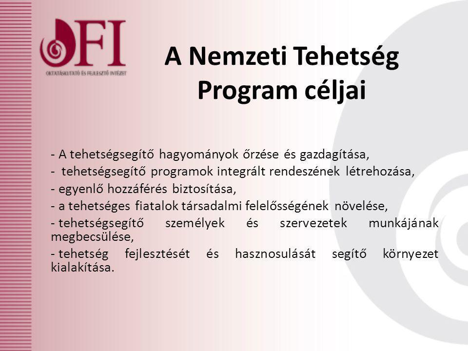 A Nemzeti Tehetség Program céljai - A tehetségsegítő hagyományok őrzése és gazdagítása, - tehetségsegítő programok integrált rendeszének létrehozása,