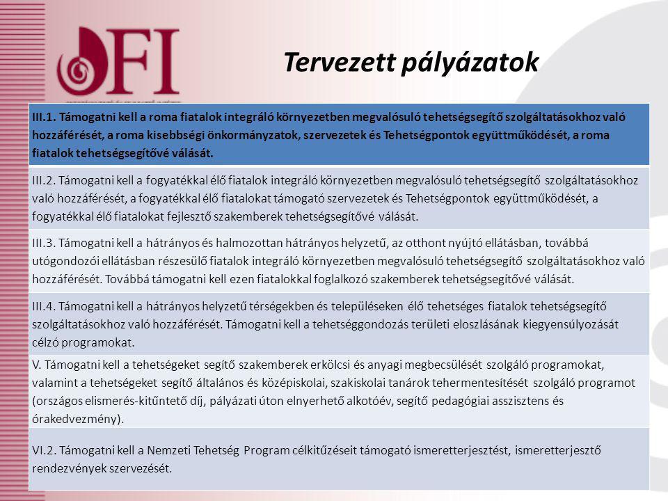 Tervezett pályázatok III.1. Támogatni kell a roma fiatalok integráló környezetben megvalósuló tehetségsegítő szolgáltatásokhoz való hozzáférését, a ro