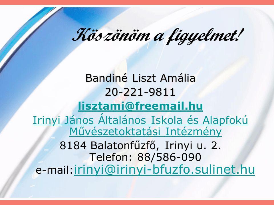 Köszönöm a figyelmet! Bandiné Liszt Amália 20-221-9811 lisztami@freemail.hu Irinyi János Általános Iskola és Alapfokú Művészetoktatási Intézmény 8184