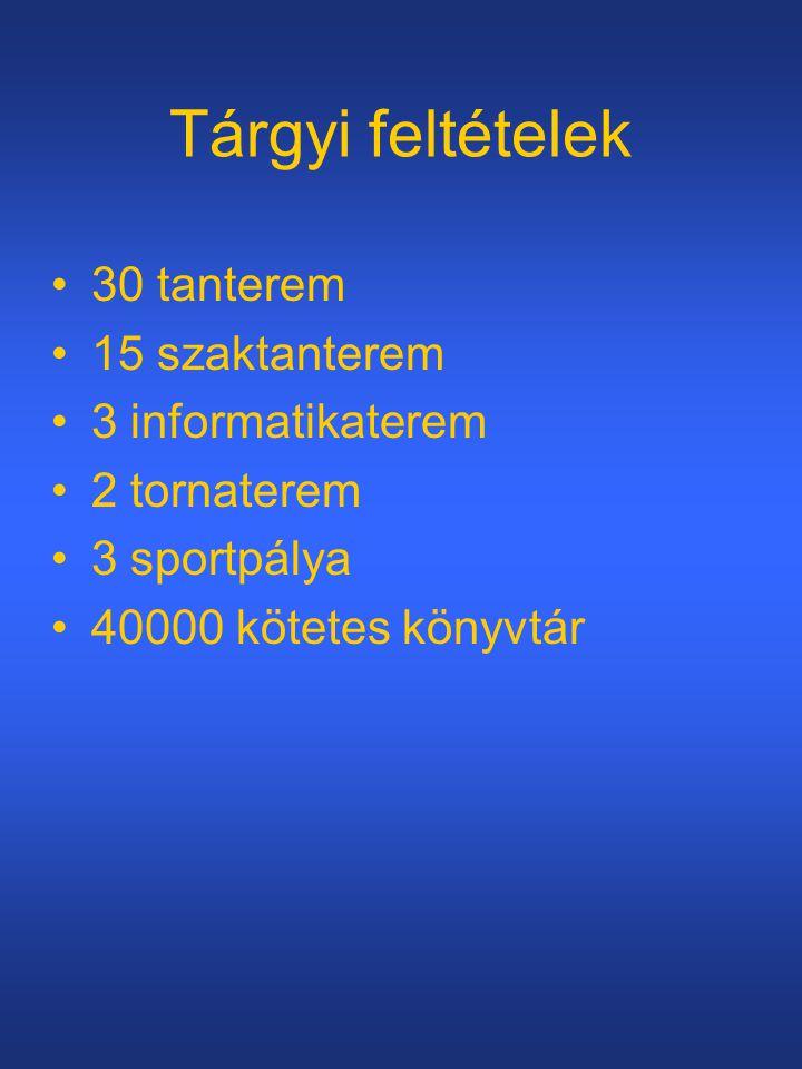 Tárgyi feltételek •30 tanterem •15 szaktanterem •3 informatikaterem •2 tornaterem •3 sportpálya •40000 kötetes könyvtár