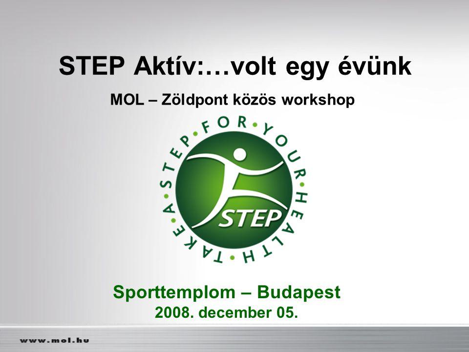 STEP Aktív:…volt egy évünk MOL – Zöldpont közös workshop Sporttemplom – Budapest 2008. december 05.