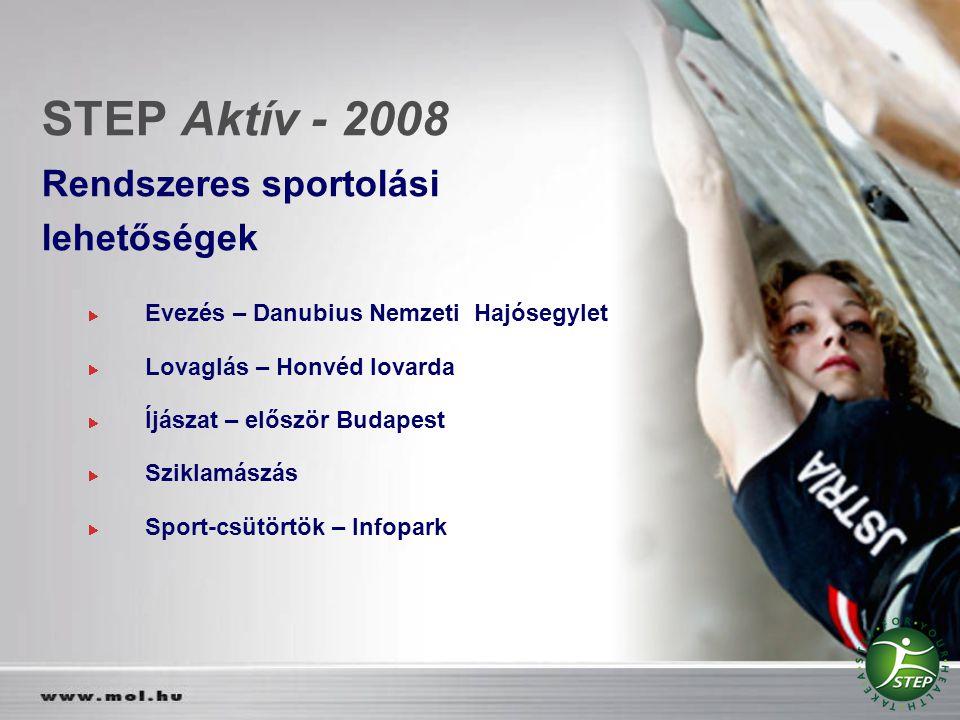 STEP Aktív - 2008 Rendszeres sportolási lehetőségek Evezés – Danubius Nemzeti Hajósegylet Lovaglás – Honvéd lovarda Íjászat – először Budapest Sziklam