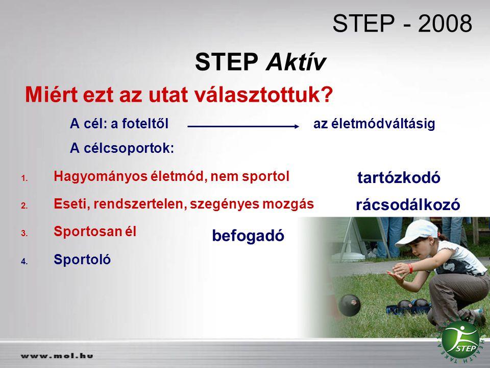 STEP Aktív Miért ezt az utat választottuk? A cél: a foteltől az életmódváltásig A célcsoportok: 1. Hagyományos életmód, nem sportol 2. Eseti, rendszer