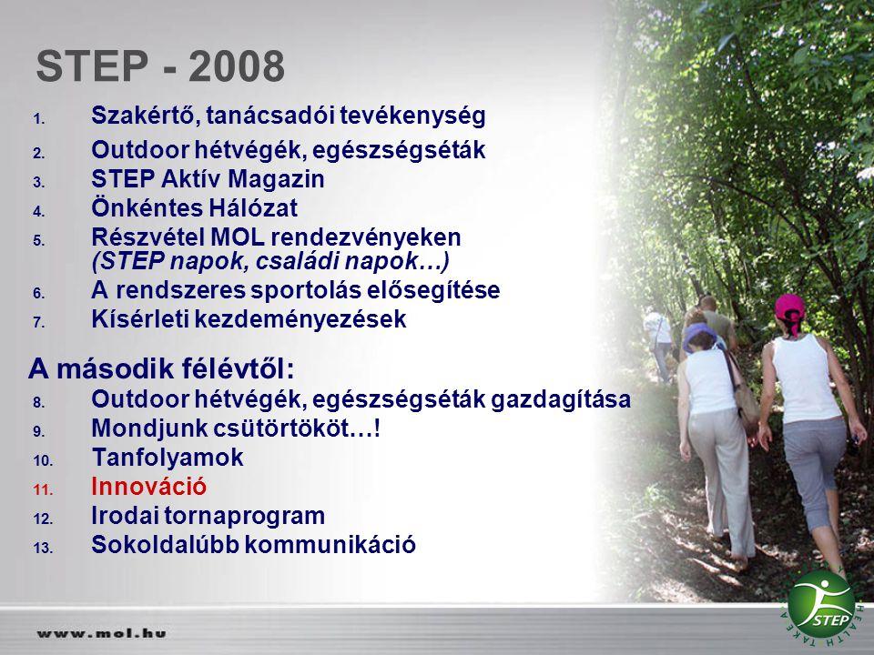 STEP - 2008 1. Szakértő, tanácsadói tevékenység 2. Outdoor hétvégék, egészségséták 3. STEP Aktív Magazin 4. Önkéntes Hálózat 5. Részvétel MOL rendezvé
