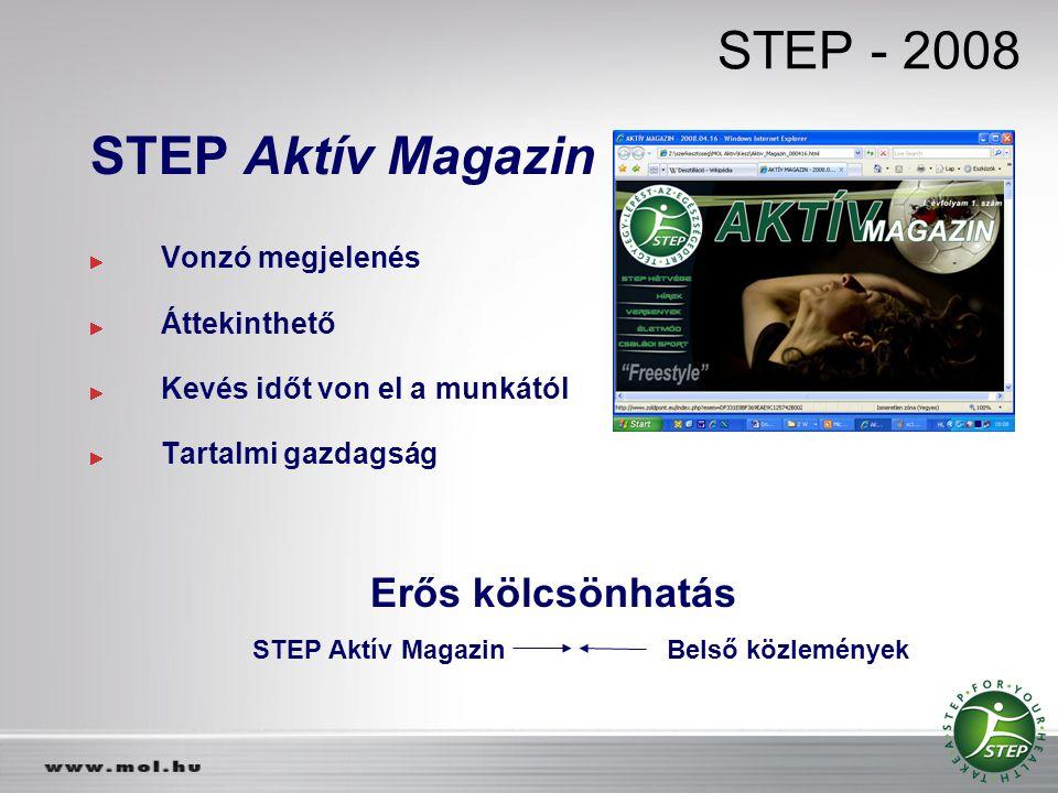 STEP - 2008 STEP Aktív Magazin Vonzó megjelenés Áttekinthető Kevés időt von el a munkától Tartalmi gazdagság Erős kölcsönhatás STEP Aktív Magazin Bels