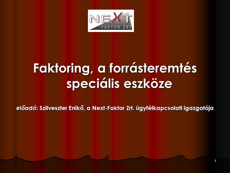 1 Faktoring, a forrásteremtés speciális eszköze előadó : Szilveszter Enikő, a Next-Faktor Zrt. ügyfélkapcsolati igazgatója
