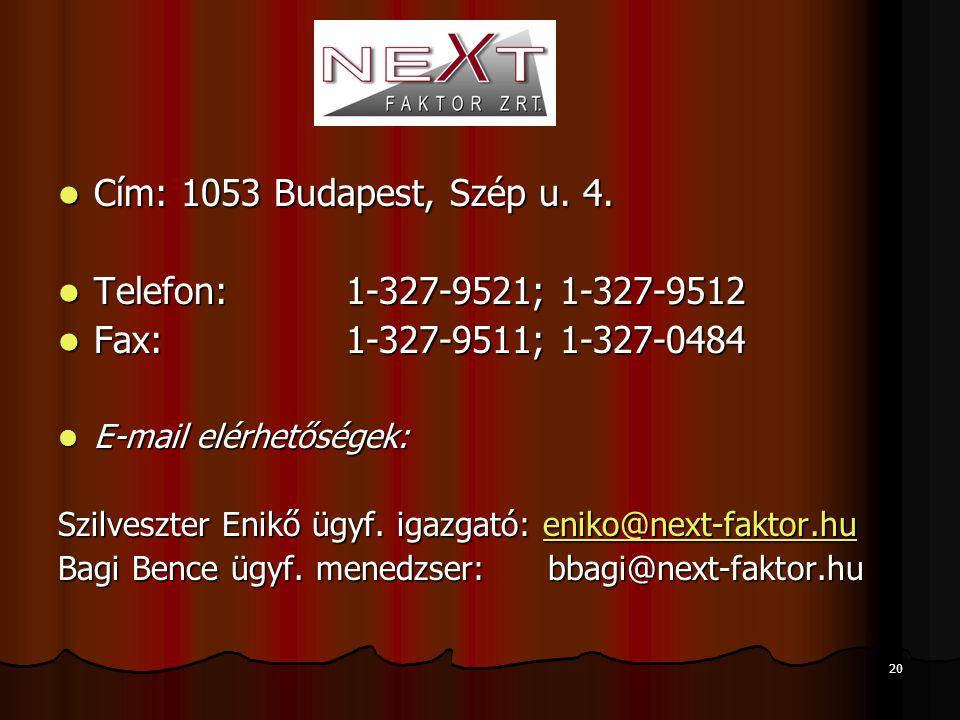 20  Cím: 1053 Budapest, Szép u. 4.  Telefon:1-327-9521; 1-327-9512  Fax: 1-327-9511; 1-327-0484  E-mail elérhetőségek: Szilveszter Enikő ügyf. iga