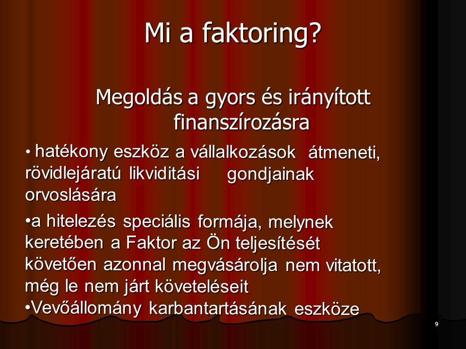 9 Mi a faktoring? Megoldás a gyors és irányított finanszírozásra hatékony eszköz a vállalkozások átmeneti, rövidlejáratú likviditási gondjainak orvosl
