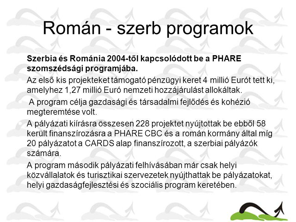 Román - szerb programok •Szerbia és Románia 2004-től kapcsolódott be a PHARE szomszédsági programjába.