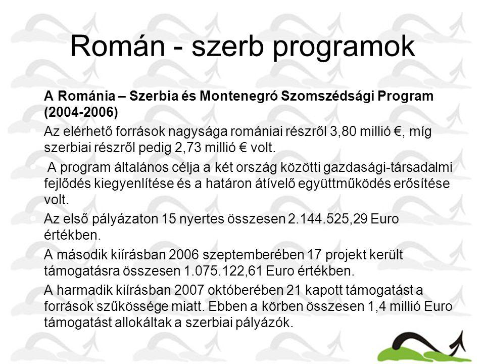 Román - szerb programok  A Románia – Szerbia és Montenegró Szomszédsági Program (2004-2006)  Az elérhető források nagysága romániai részről 3,80 millió €, míg szerbiai részről pedig 2,73 millió € volt.
