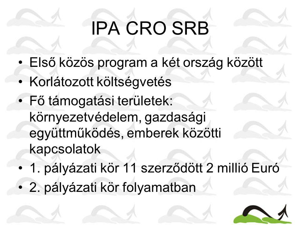 IPA CRO SRB •Első közös program a két ország között •Korlátozott költségvetés •Fő támogatási területek: környezetvédelem, gazdasági együttműködés, emberek közötti kapcsolatok •1.