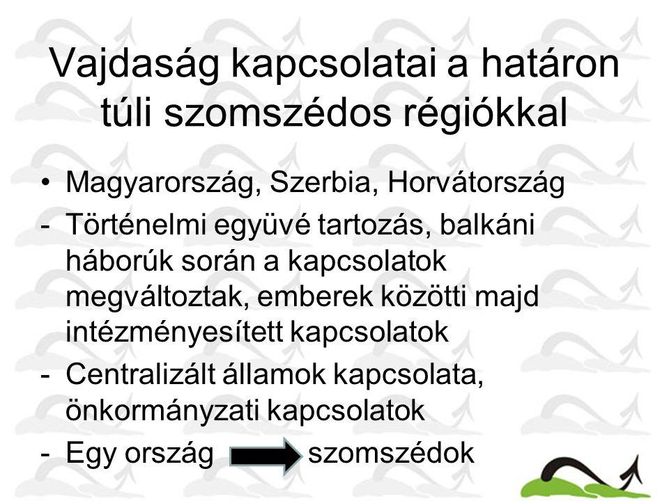 Vajdaság kapcsolatai a határon túli szomszédos régiókkal •Magyarország, Szerbia, Horvátország -Történelmi együvé tartozás, balkáni háborúk során a kapcsolatok megváltoztak, emberek közötti majd intézményesített kapcsolatok -Centralizált államok kapcsolata, önkormányzati kapcsolatok -Egy ország szomszédok -