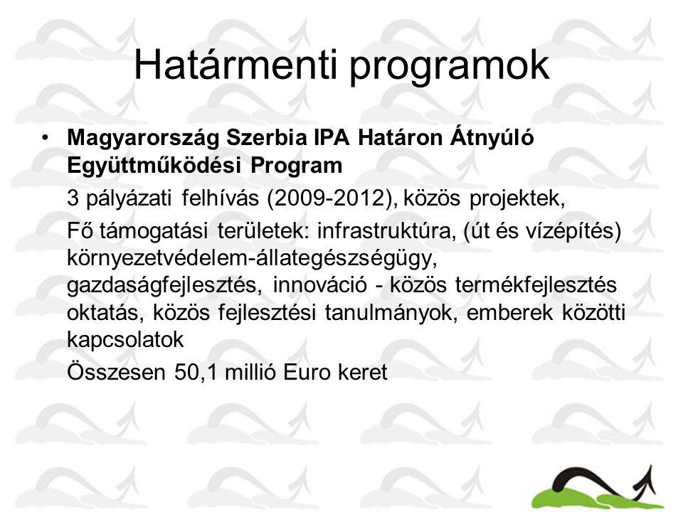 Határmenti programok •Magyarország Szerbia IPA Határon Átnyúló Együttműködési Program 3 pályázati felhívás (2009-2012), közös projektek, Fő támogatási területek: infrastruktúra, (út és vízépítés) környezetvédelem-állategészségügy, gazdaságfejlesztés, innováció - közös termékfejlesztés oktatás, közös fejlesztési tanulmányok, emberek közötti kapcsolatok Összesen 50,1 millió Euro keret