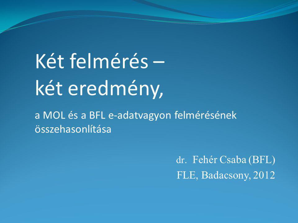 dr. Fehér Csaba (BFL) FLE, Badacsony, 2012 Két felmérés – két eredmény, a MOL és a BFL e-adatvagyon felmérésének összehasonlítása