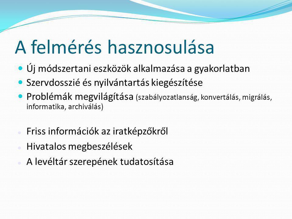 A felmérés hasznosulása  Új módszertani eszközök alkalmazása a gyakorlatban  Szervdosszié és nyilvántartás kiegészítése  Problémák megvilágítása (s