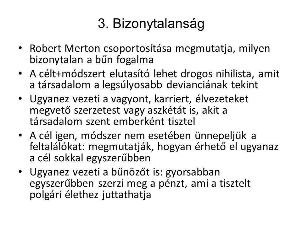 3. Bizonytalanság • Robert Merton csoportosítása megmutatja, milyen bizonytalan a bűn fogalma • A célt+módszert elutasító lehet drogos nihilista, amit