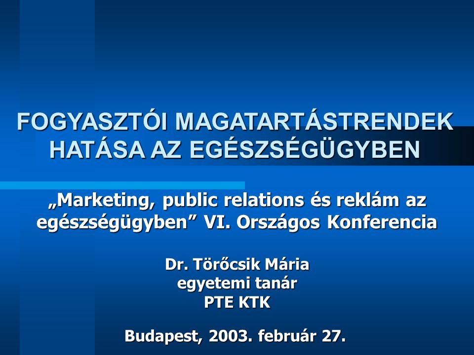 """""""Marketing, public relations és reklám az egészségügyben"""" VI. Országos Konferencia Dr. Törőcsik Mária egyetemi tanár PTE KTK Budapest, 2003. február 2"""