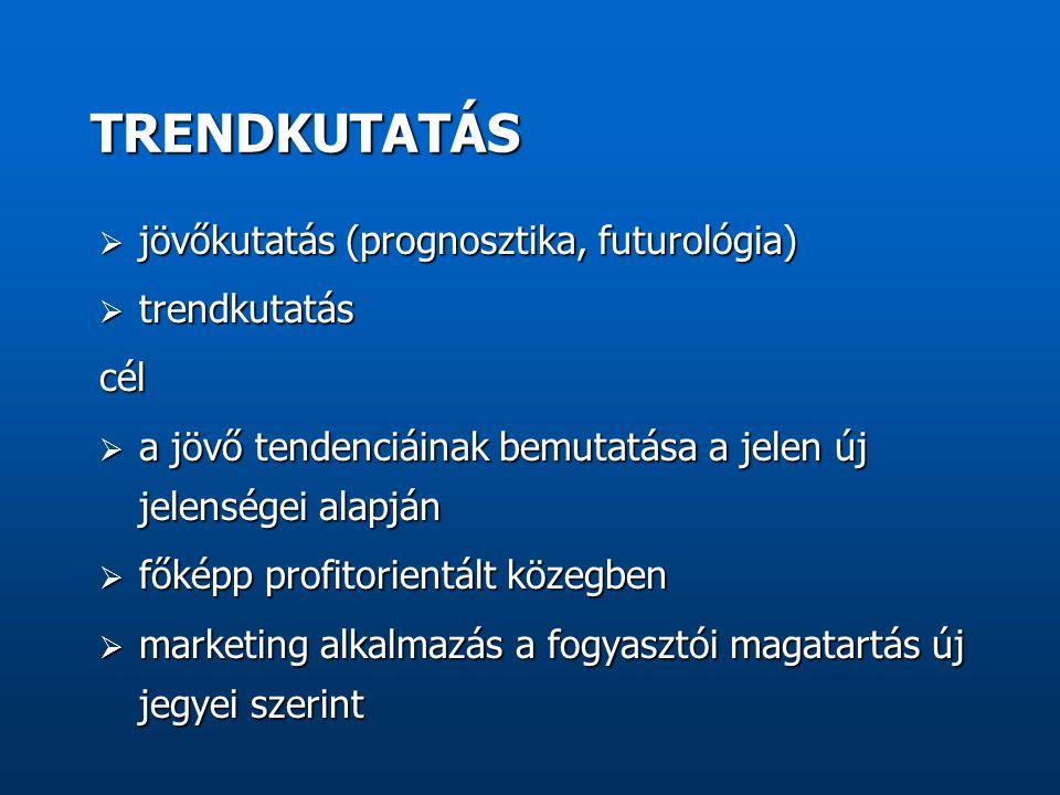  jövőkutatás (prognosztika, futurológia)  trendkutatás cél  a jövő tendenciáinak bemutatása a jelen új jelenségei alapján  főképp profitorientált