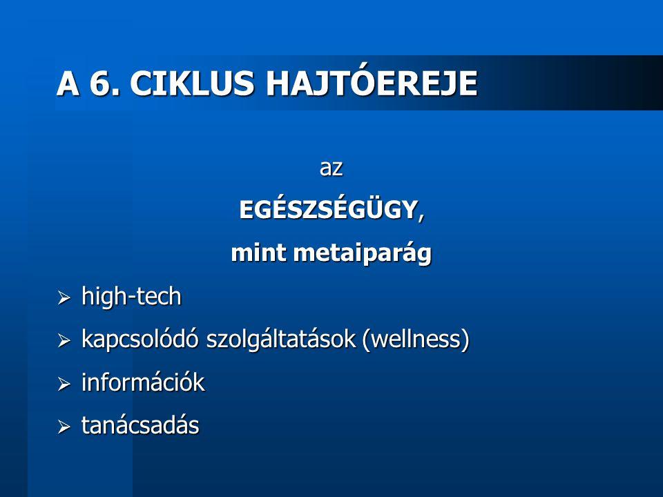 A 6. CIKLUS HAJTÓEREJE az EGÉSZSÉGÜGY, mint metaiparág  high-tech  kapcsolódó szolgáltatások (wellness)  információk  tanácsadás