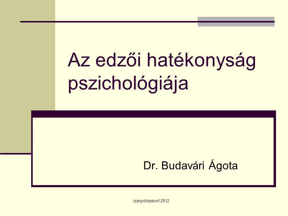 utánpótláskonf.2012 Az edzői hatékonyság pszichológiája Dr. Budavári Ágota
