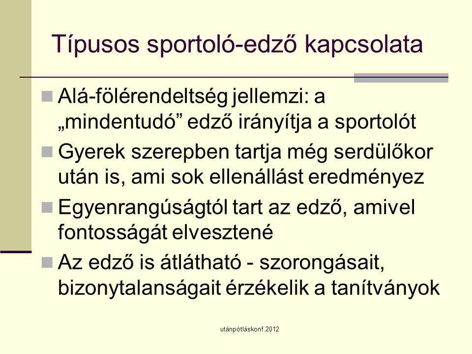 """utánpótláskonf.2012 Típusos sportoló-edző kapcsolata  Alá-fölérendeltség jellemzi: a """"mindentudó"""" edző irányítja a sportolót  Gyerek szerepben tartj"""