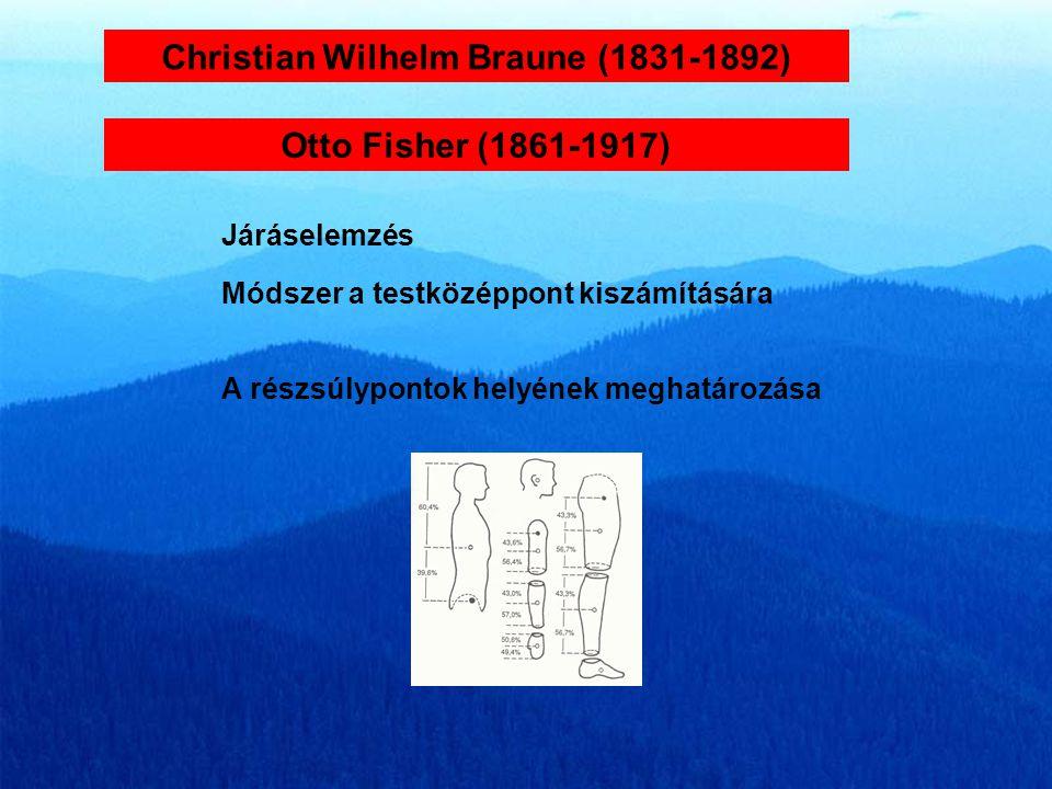 Christian Wilhelm Braune (1831-1892) Járáselemzés Otto Fisher (1861-1917) Módszer a testközéppont kiszámítására A részsúlypontok helyének meghatározása