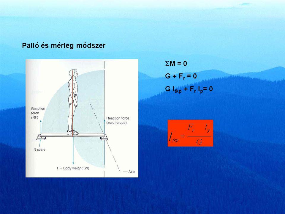 Számítási módszerek a tömegközéppont helyének meghatározására Palló és mérleg módszer lplp G FrFr  M = 0 G + F r = 0 G l tkp + F r l p = 0