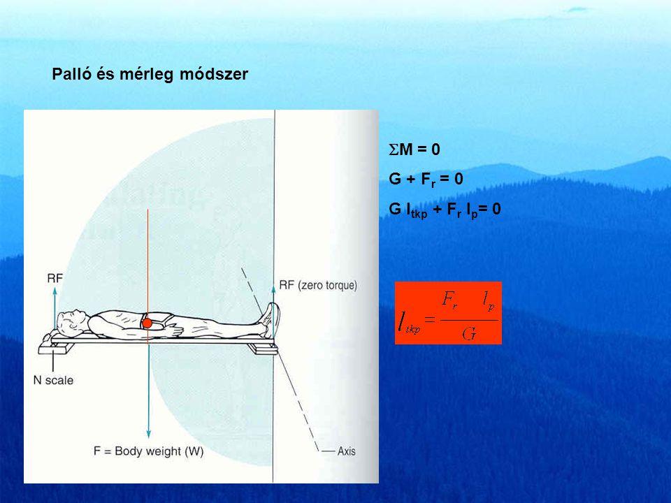 Palló és mérleg módszer  M = 0 G + F r = 0 G l tkp + F r l p = 0