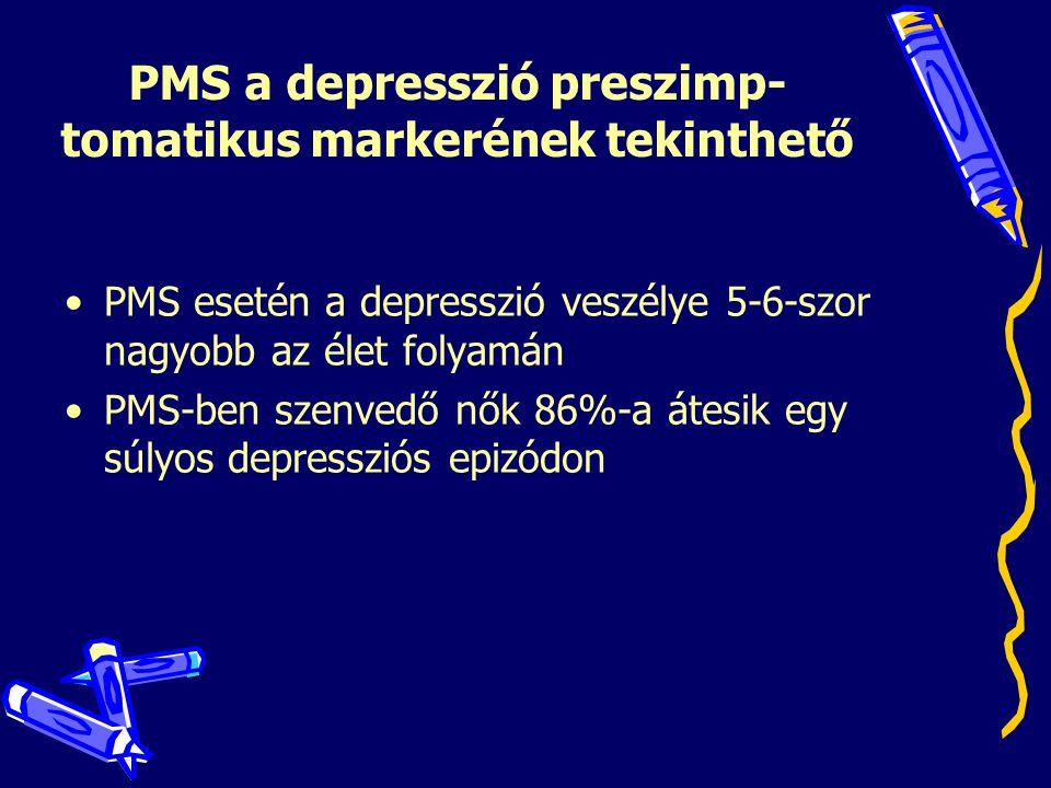 PMS a depresszió preszimp- tomatikus markerének tekinthető •PMS esetén a depresszió veszélye 5-6-szor nagyobb az élet folyamán •PMS-ben szenvedő nők 8