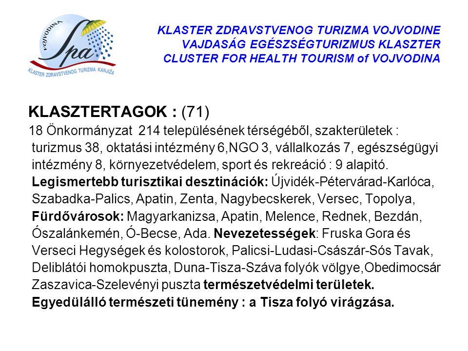 KLASTER ZDRAVSTVENOG TURIZMA VOJVODINE VAJDASÁG EGÉSZSÉGTURIZMUS KLASZTER CLUSTER FOR HEALTH TOURISM of VOJVODINA KLASZTERTAGOK : (71) 18 Önkormányzat