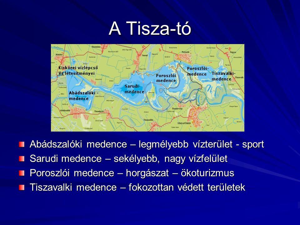 A Tisza-tó Abádszalóki medence – legmélyebb vízterület - sport Sarudi medence – sekélyebb, nagy vízfelület Poroszlói medence – horgászat – ökoturizmus