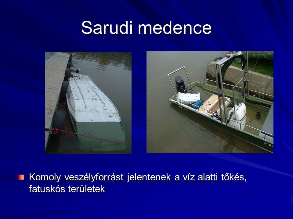 Sarudi medence Komoly veszélyforrást jelentenek a víz alatti tőkés, fatuskós területek