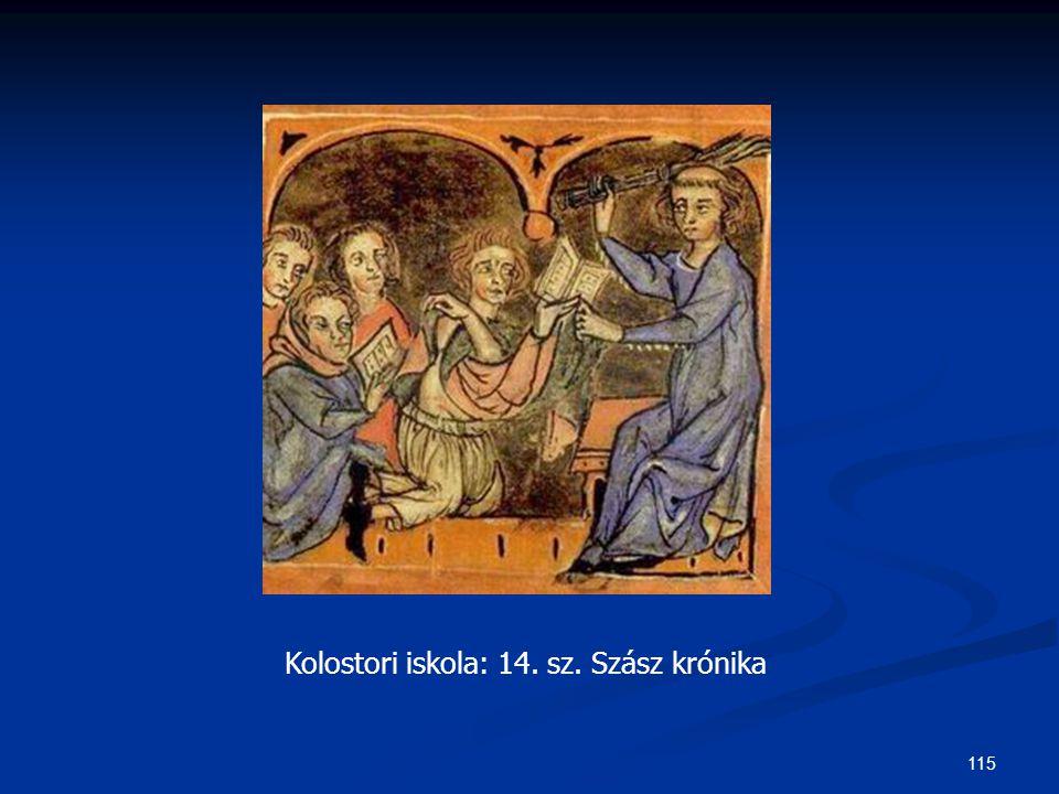 115 Kolostori iskola: 14. sz. Szász krónika