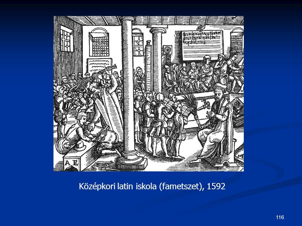 116 Középkori latin iskola (fametszet), 1592