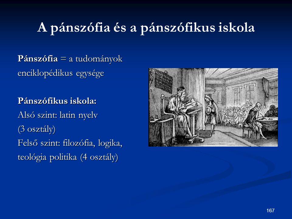 167 A pánszófia és a pánszófikus iskola Pánszófia = a tudományok enciklopédikus egysége Pánszófikus iskola: Alsó szint: latin nyelv (3 osztály) Felső