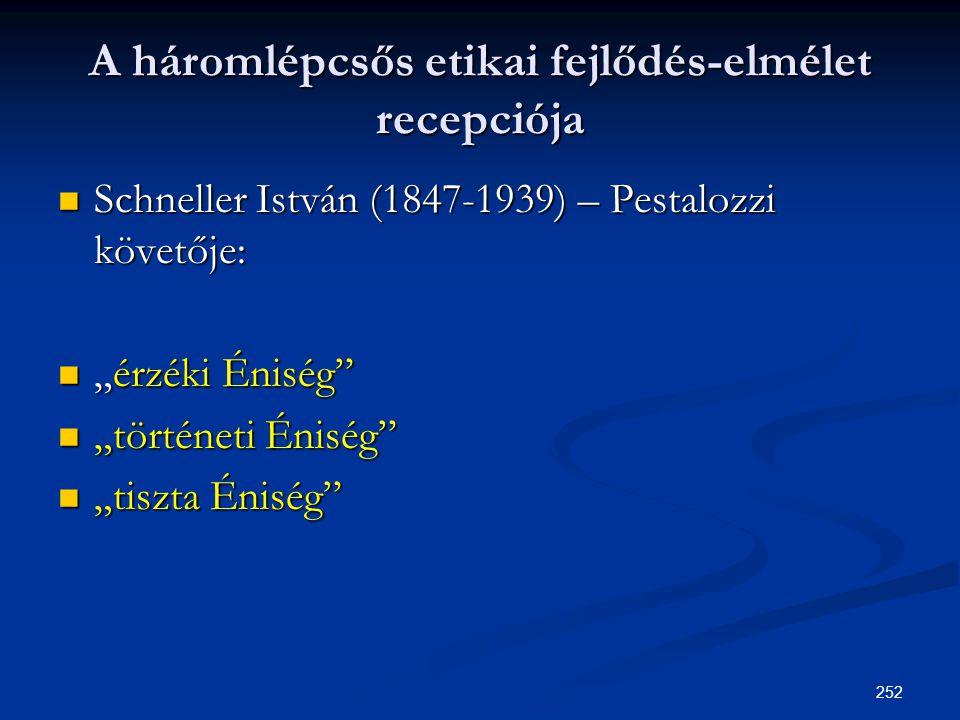 """252 A háromlépcsős etikai fejlődés-elmélet recepciója  Schneller István (1847-1939) – Pestalozzi követője:  """"érzéki Éniség""""  """"történeti Éniség""""  """""""