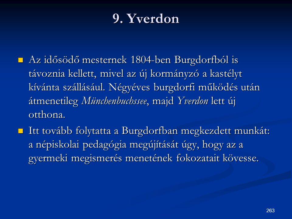 263 9. Yverdon  Az idősödő mesternek 1804-ben Burgdorfból is távoznia kellett, mivel az új kormányzó a kastélyt kívánta szállásául. Négyéves burgdorf