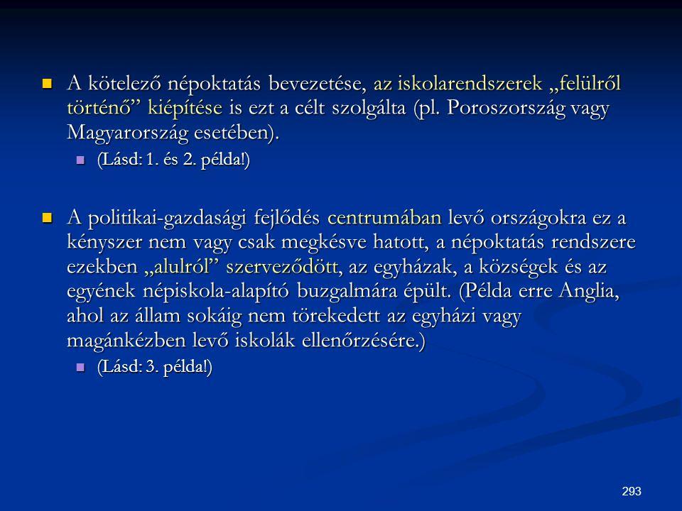 """293  A kötelező népoktatás bevezetése, az iskolarendszerek """"felülről történő"""" kiépítése is ezt a célt szolgálta (pl. Poroszország vagy Magyarország e"""