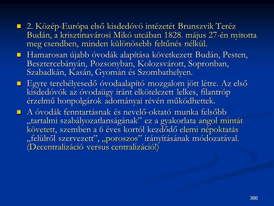 300  2. Közép-Európa első kisdedóvó intézetét Brunszvik Teréz Budán, a krisztinavárosi Mikó utcában 1828. május 27-én nyitotta meg csendben, minden k