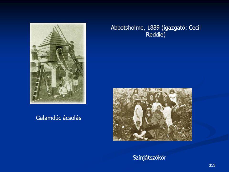 353 Abbotsholme, 1889 (igazgató: Cecil Reddie) Galamdúc ácsolás Színjátszókör