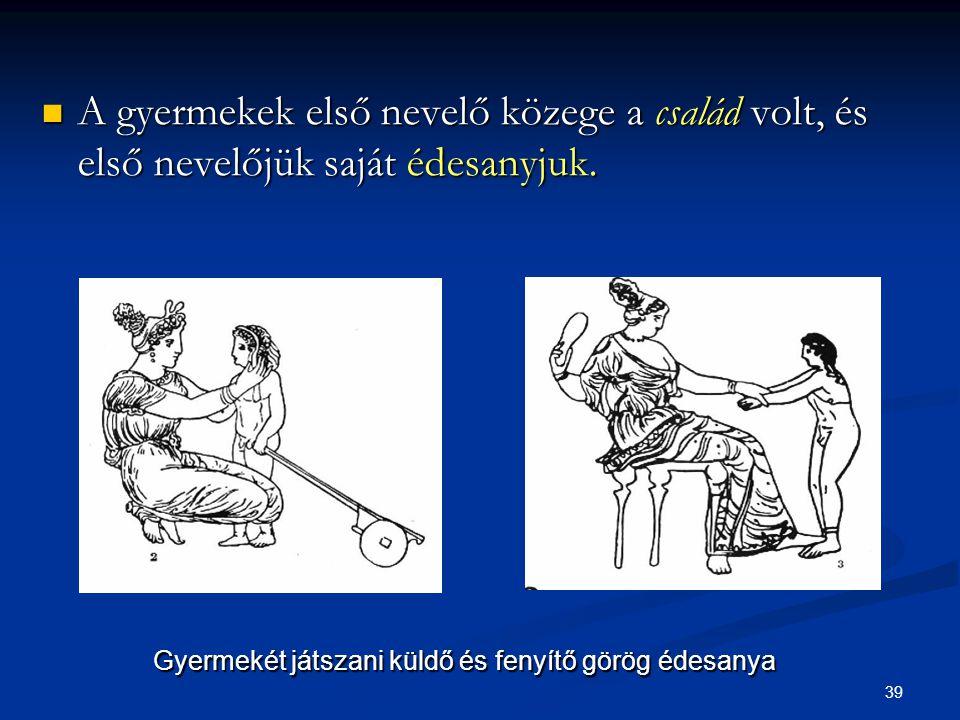 39  A gyermekek első nevelő közege a család volt, és első nevelőjük saját édesanyjuk. Gyermekét játszani küldő és fenyítő görög édesanya